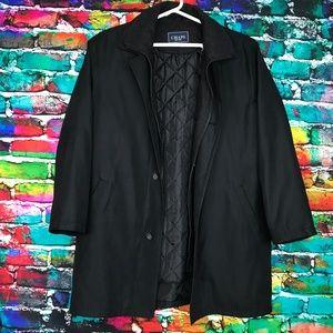 Mens Chaps Black Overcoat Trench Coat Removable Li
